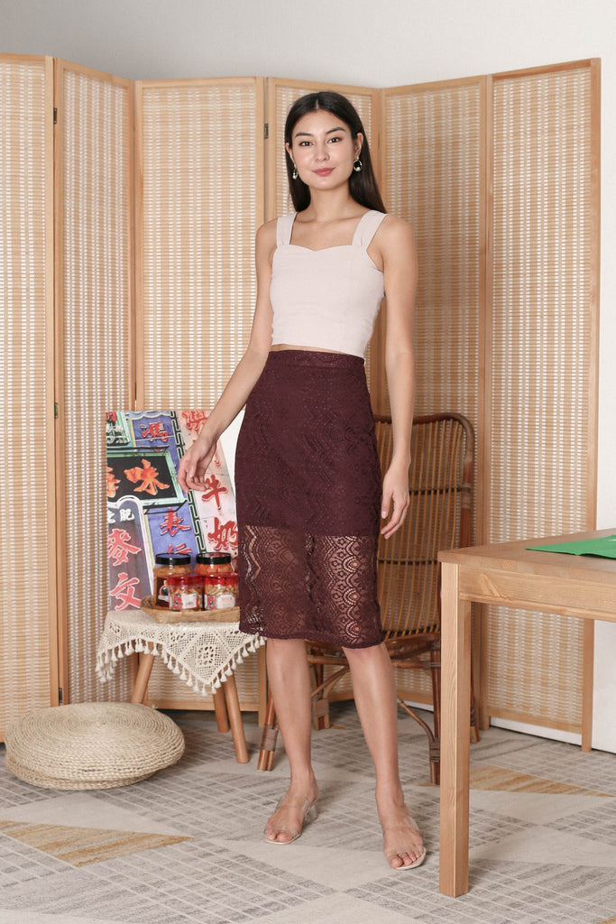*TPZ* QUEZA LACE SKIRT IN PLUM