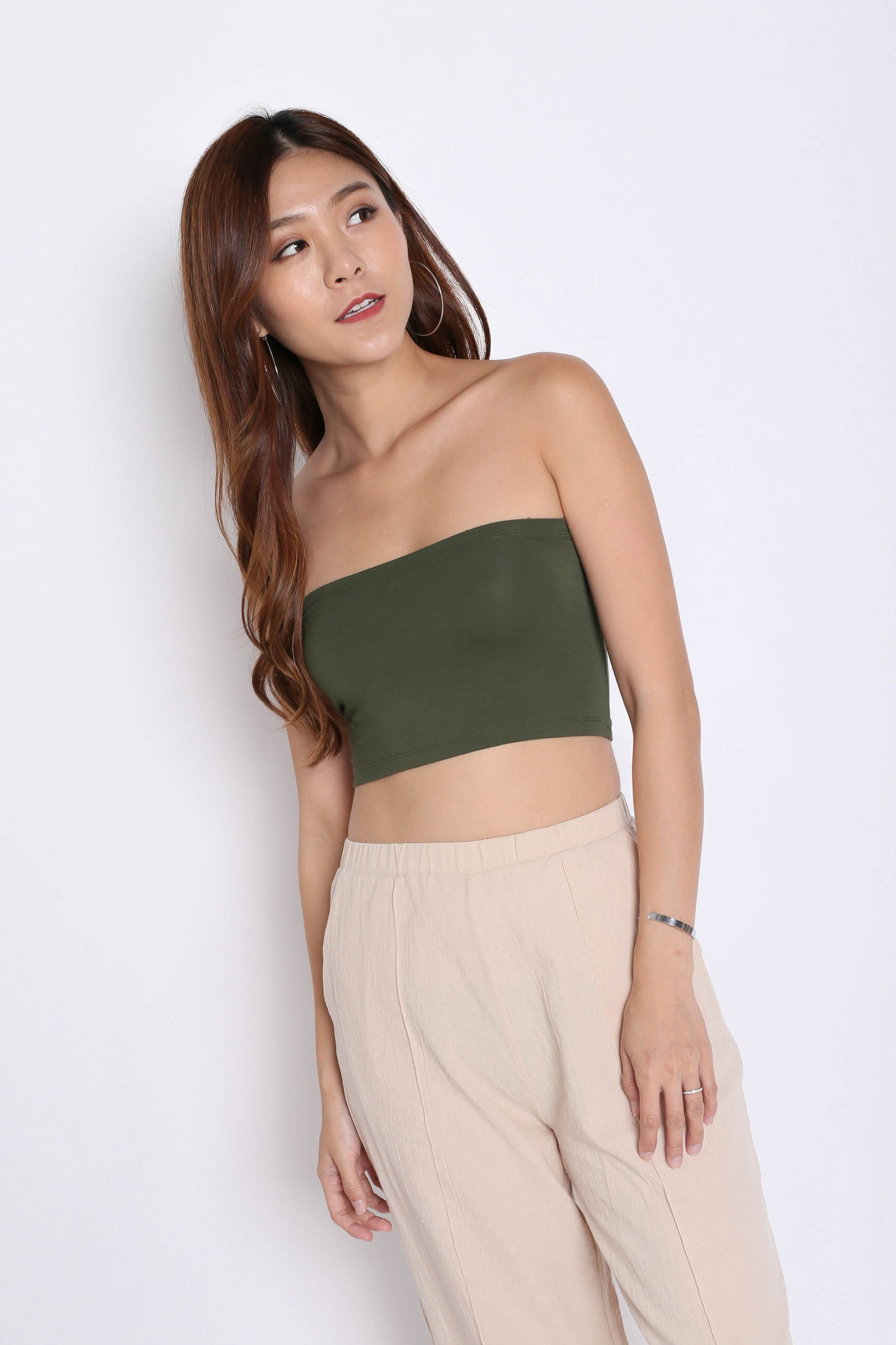 ca3d7d0775 BASIC CROP TUBE TOP IN ARMY GREEN – TOPAZETTE