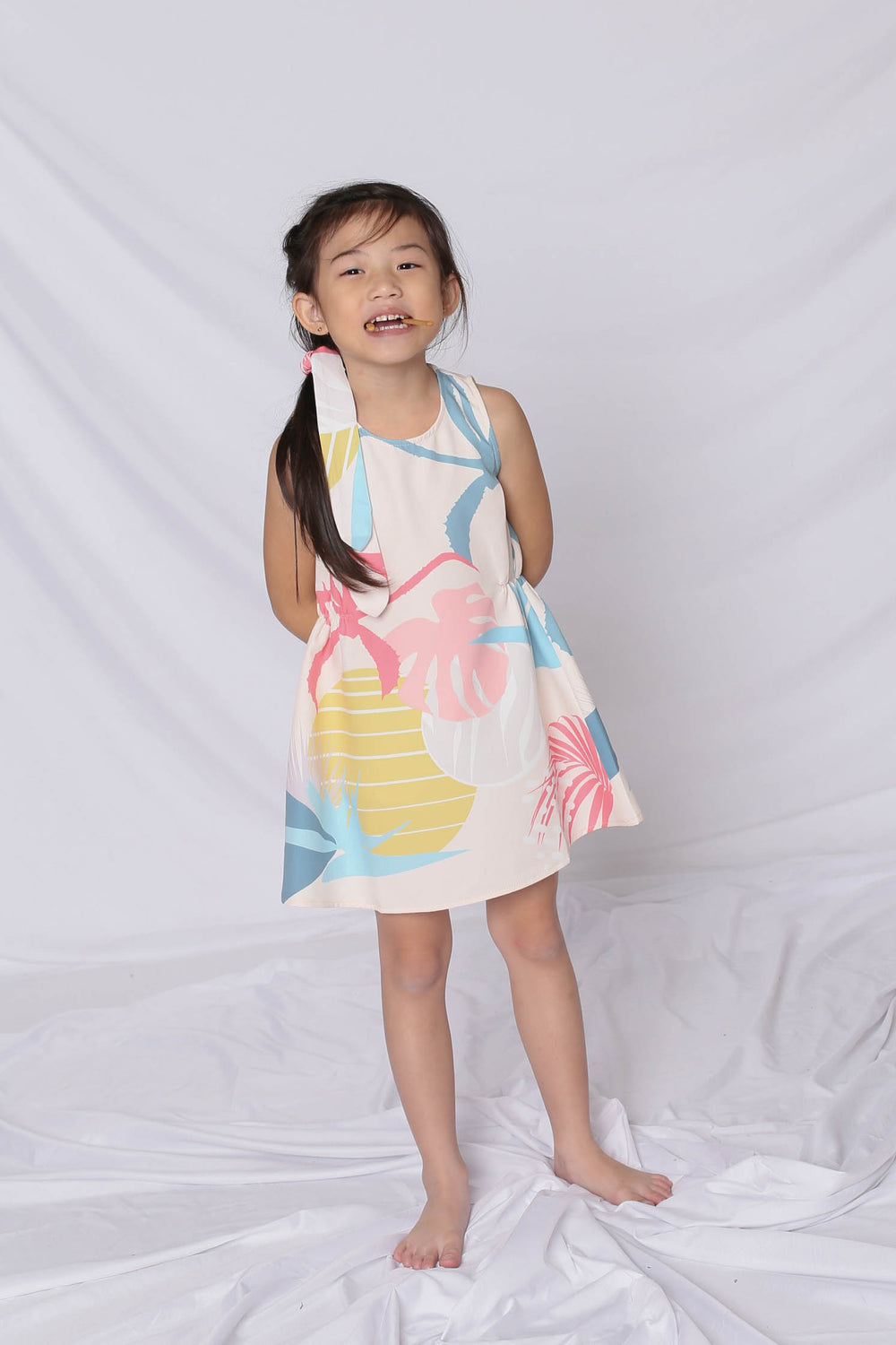 *LITTLE TOPAZETTE* ALOHA ELASTIC TRAPEZE DRESS IN CREAM - TOPAZETTE