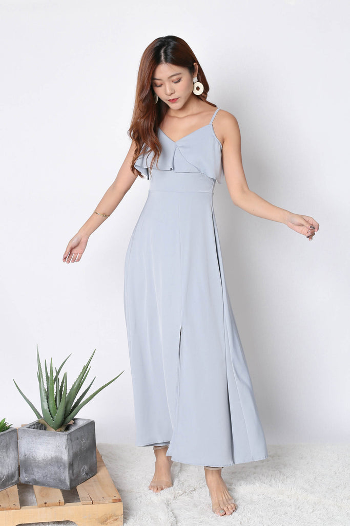 (BACKORDER) *TPZ* (PREMIUM) MAIZIE MAXI DRESS IN GREYISH BLUE - TOPAZETTE