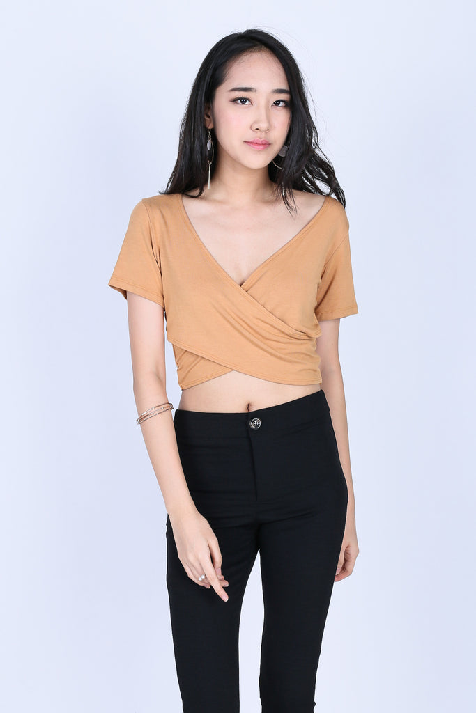 *RESTOCKED* QUINN CROSS WRAP CROP TOP IN MUSTARD - TOPAZETTE