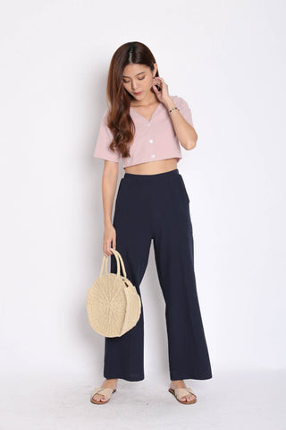 LINEN BUTTON CROP TOP IN DUSTY PINK