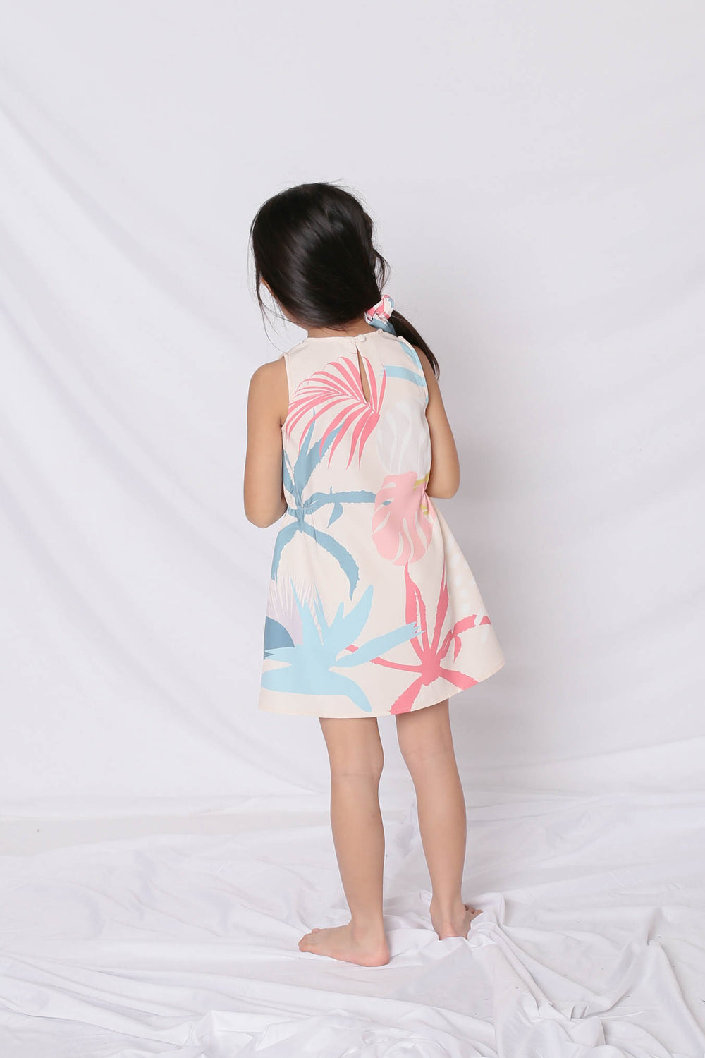 *LITTLE TOPAZETTE* ALOHA ELASTIC TRAPEZE DRESS IN CREAM