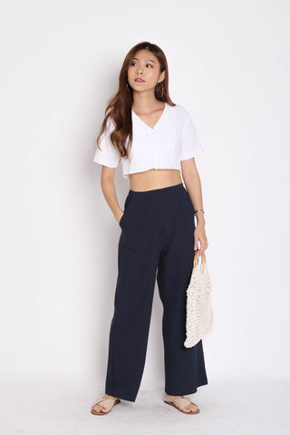 LINEN BUTTON CROP TOP IN WHITE