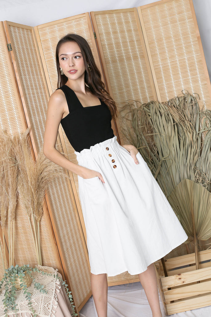 CHARLEIGH PAPERBAG SKIRT IN WHITE