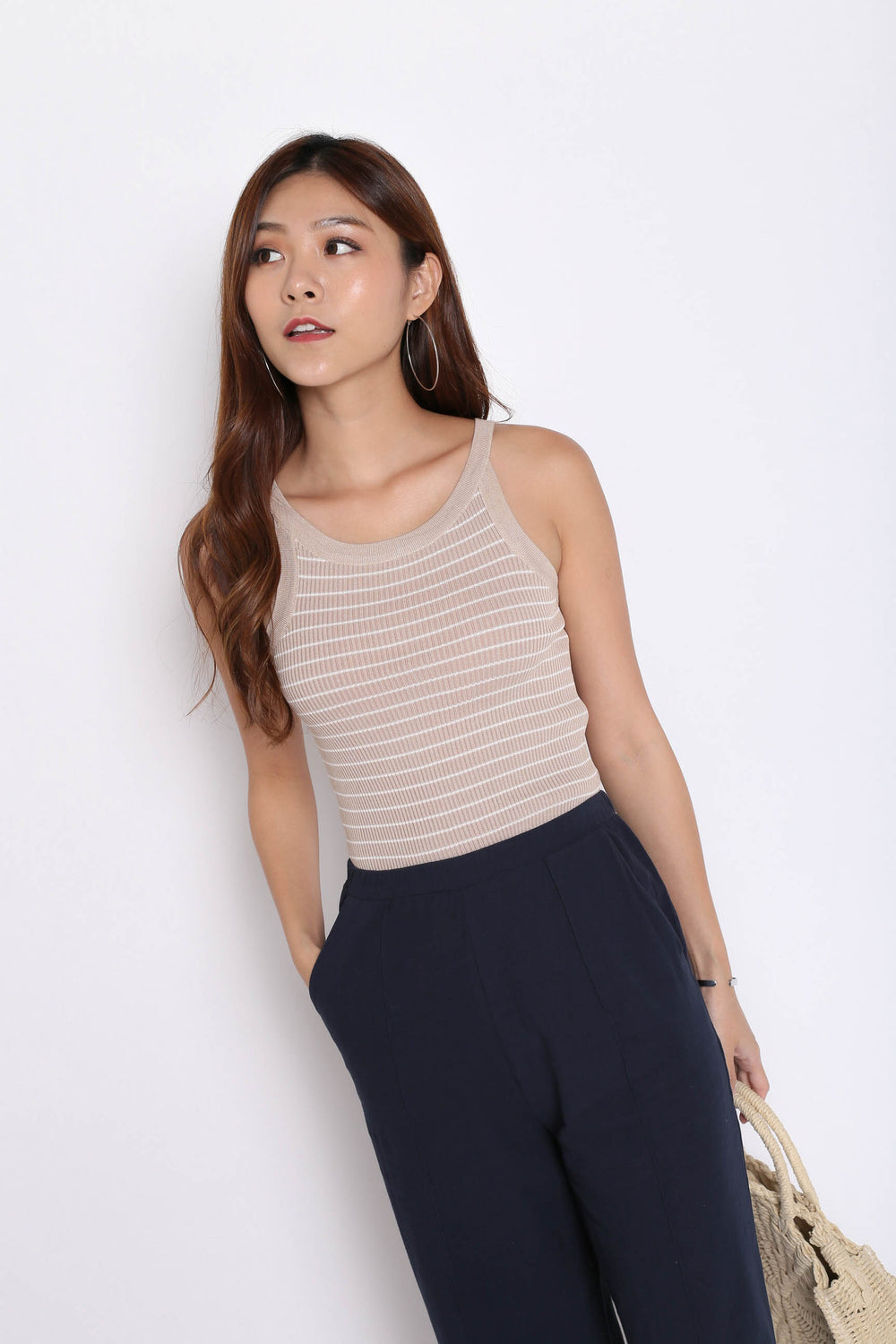 BASIC RIBBED STRIPES KNIT TOP IN TAUPE