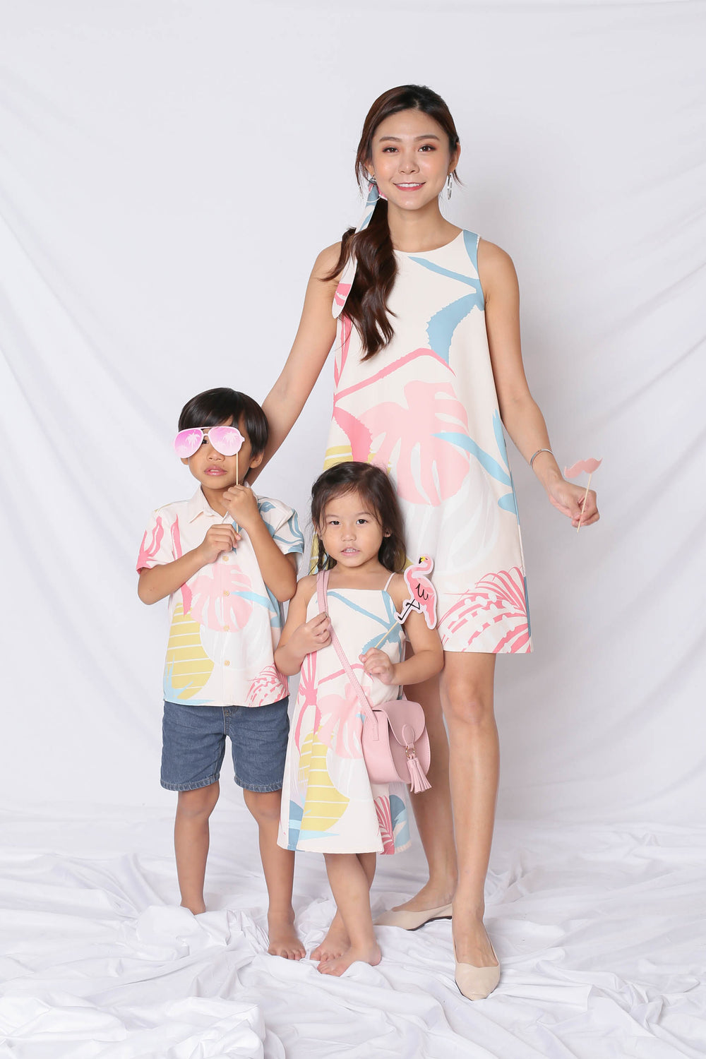 *LITTLE TOPAZETTE* ALOHA SPAG TRAPEZE DRESS IN CREAM - TOPAZETTE