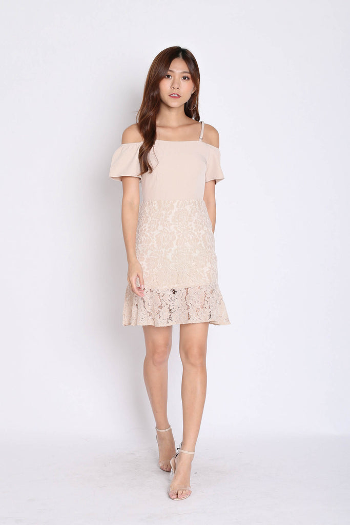 *TPZ* (PREMIUM) YVETTA LACE DRESS IN NUDE - TOPAZETTE