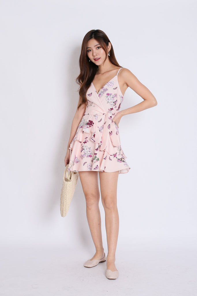 (PREMIUM) SAGE RUFFLES DRESS ROMPER IN POWDER PINK FLORALS