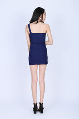 TOGA WRAP BODYCON DRESS IN NAVY