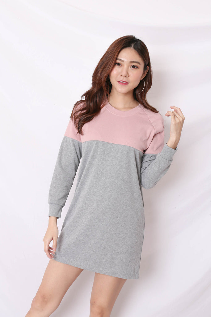 PASTEL COLOURBLOCK SWEATER DRESS (PINK/ GREY)