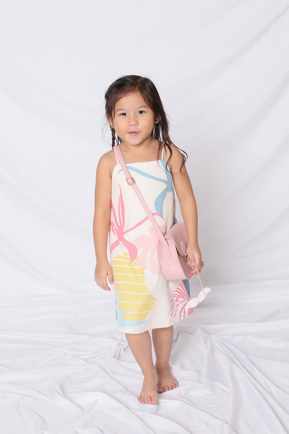 *LITTLE TOPAZETTE* ALOHA SPAG TRAPEZE DRESS IN CREAM