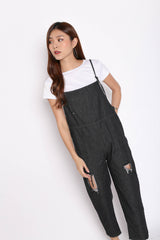 DISTRESSED DENIM DUNGAREE SET IN BLACK DENIM