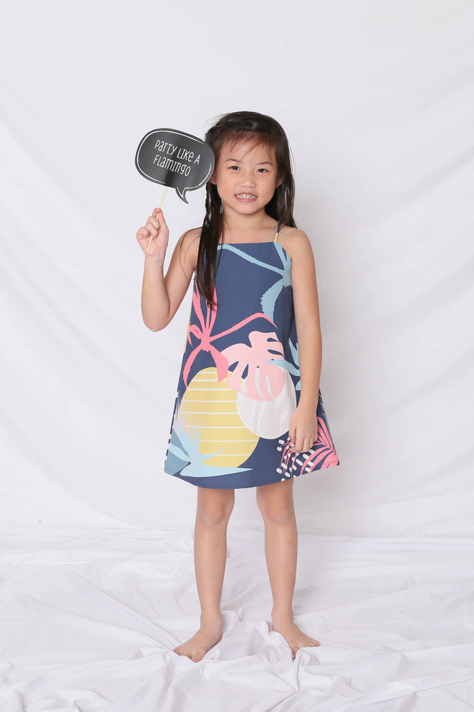 *LITTLE TOPAZETTE* ALOHA SPAG TRAPEZE DRESS IN NAVY