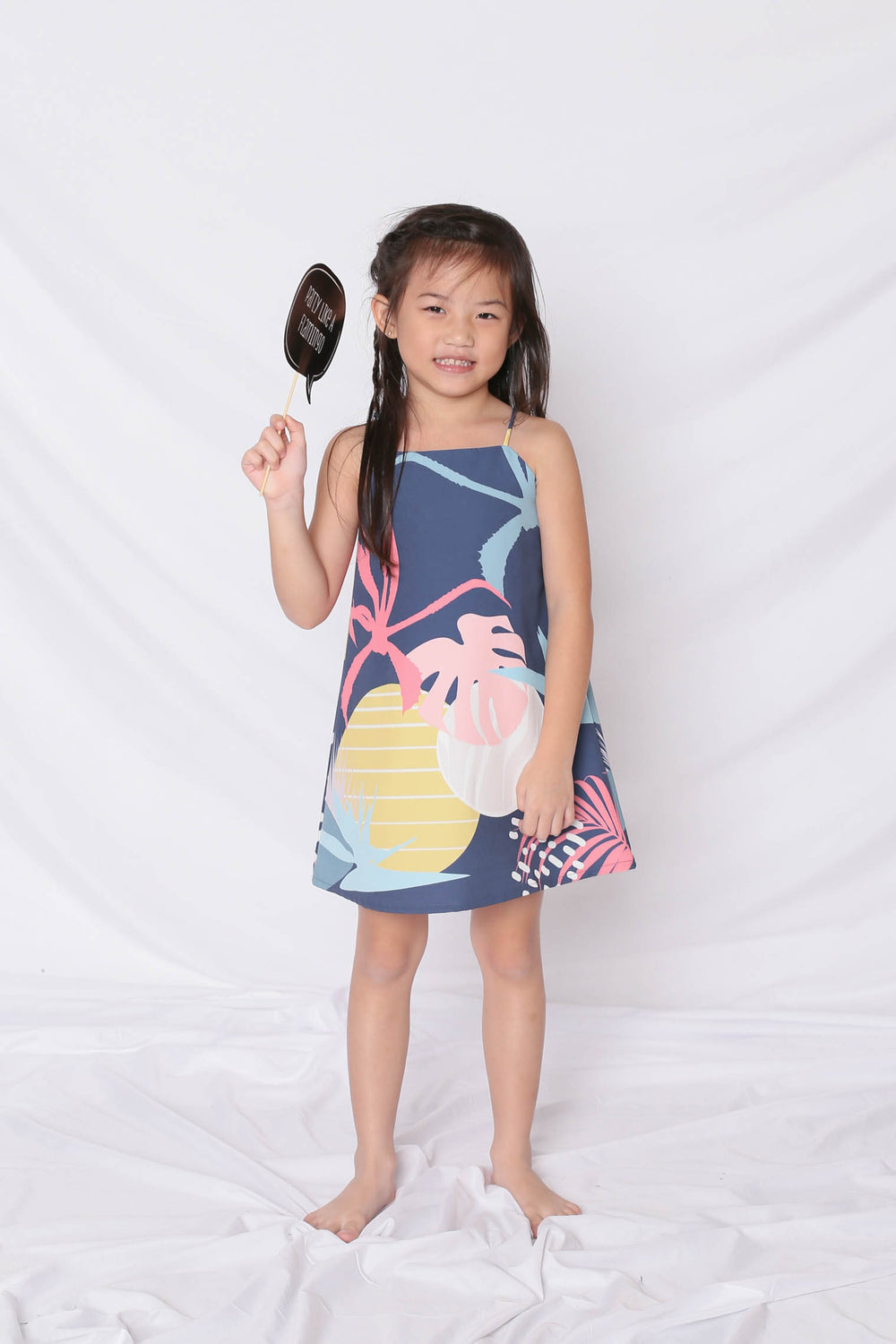 *LITTLE TOPAZETTE* ALOHA SPAG TRAPEZE DRESS IN NAVY - TOPAZETTE