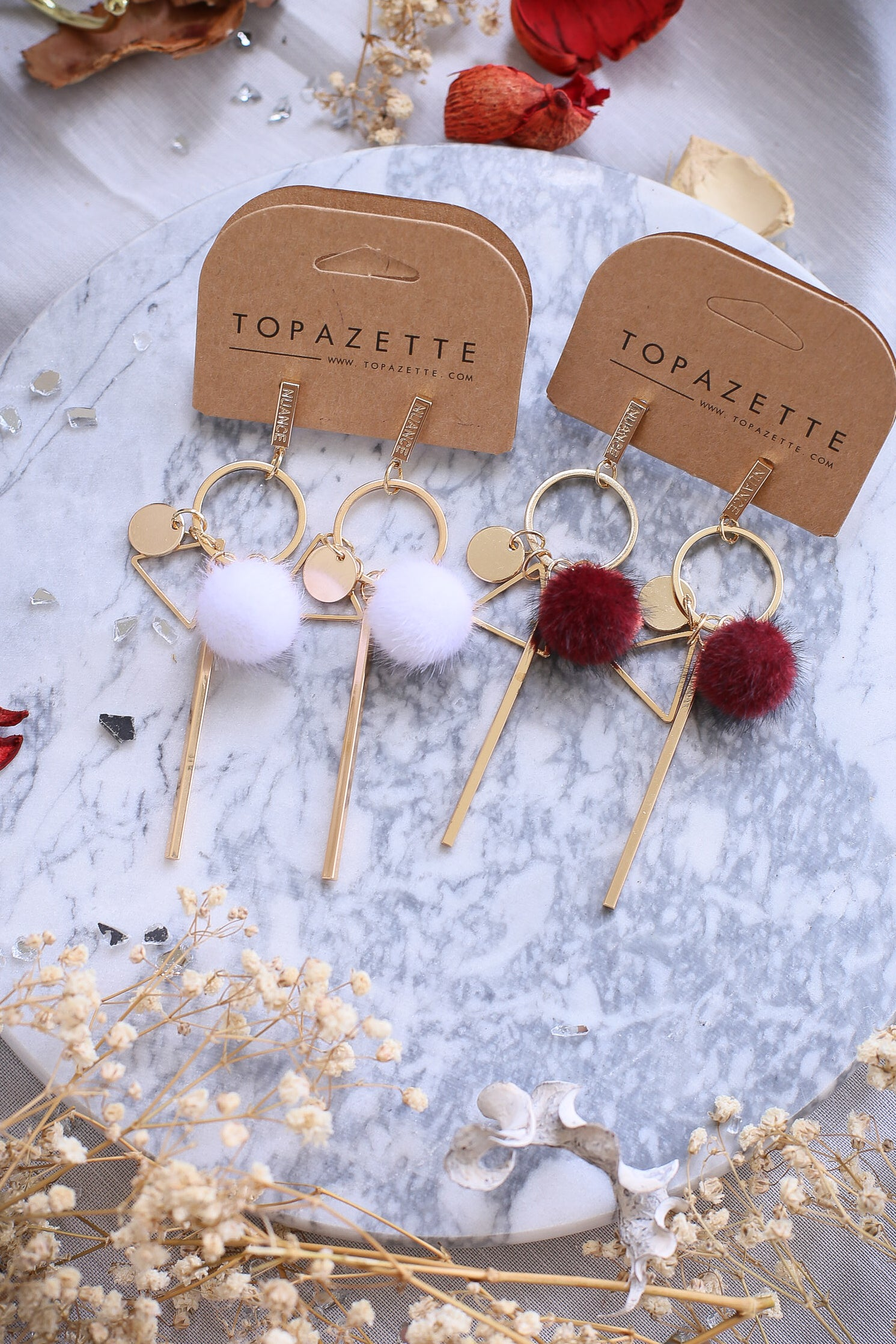 NUANCE POM POM EARRINGS