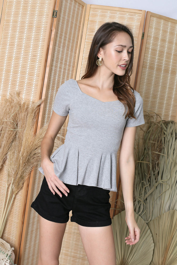 *TPZ* (PREMIUM) XOLA PEPLUM RIBBED TOP IN GREY