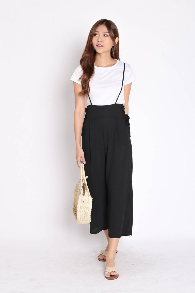 QOUNTY LACED DUNGAREE SET IN BLACK - TOPAZETTE