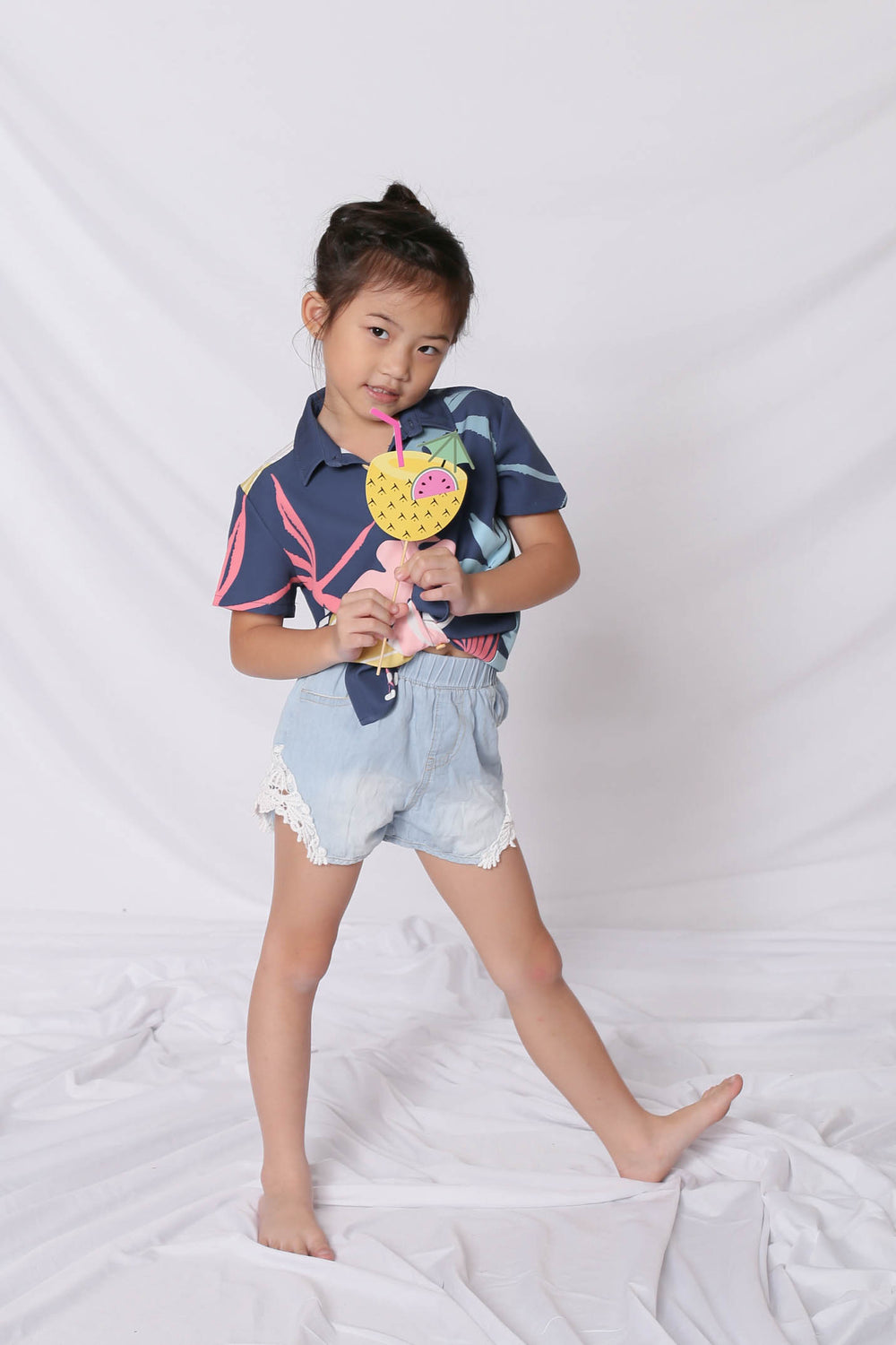 *LITTLE TOPAZETTE* ALOHA UNISEX SHIRT IN NAVY