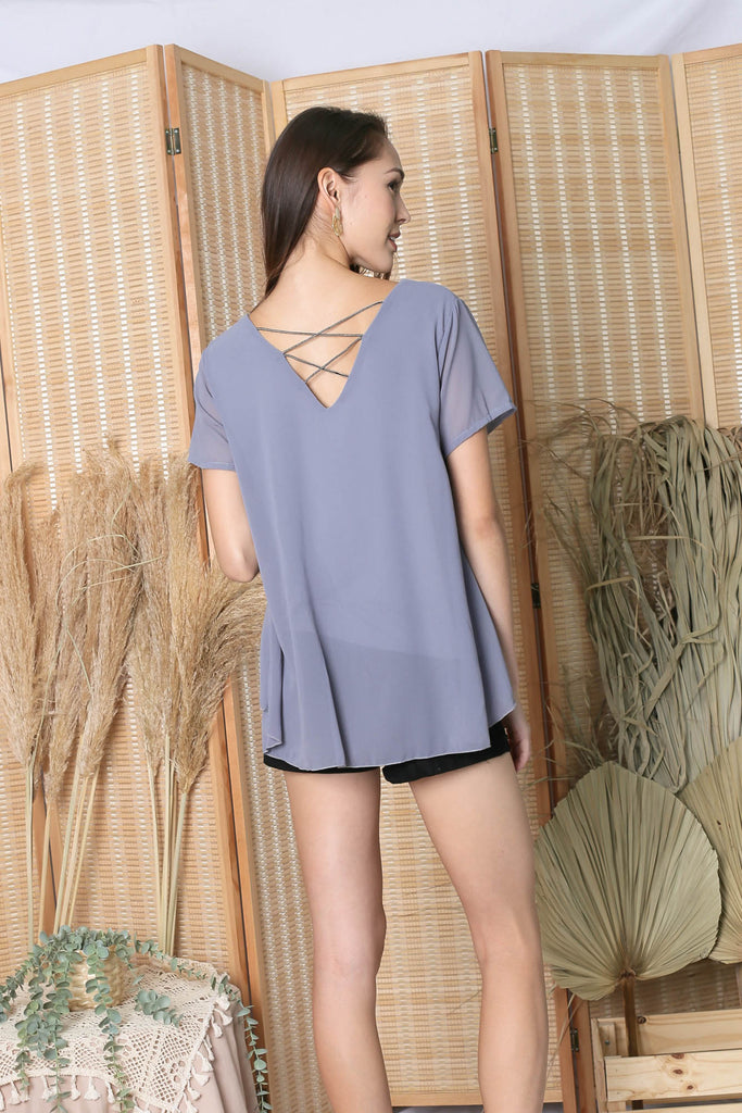 GENESIS CHIFFON TOP IN DARK GREY