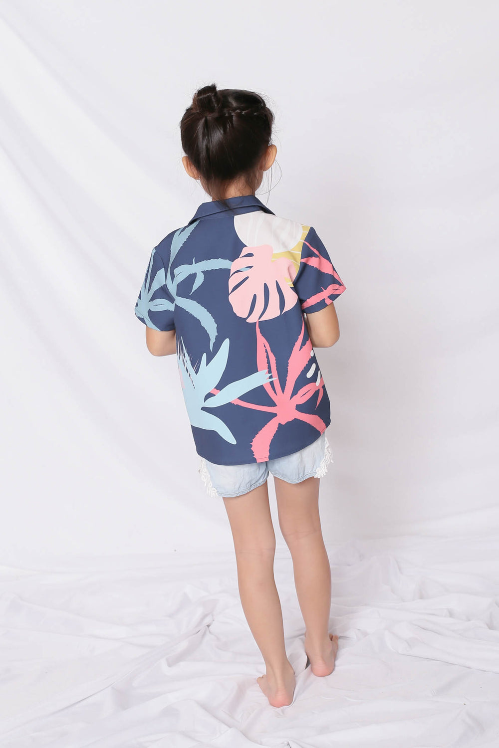 *LITTLE TOPAZETTE* ALOHA UNISEX SHIRT IN NAVY - TOPAZETTE