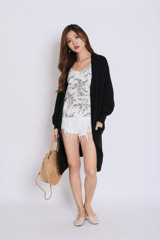 *RESTOCKED* PAVER SOFT KNIT CARDIGAN IN BLACK
