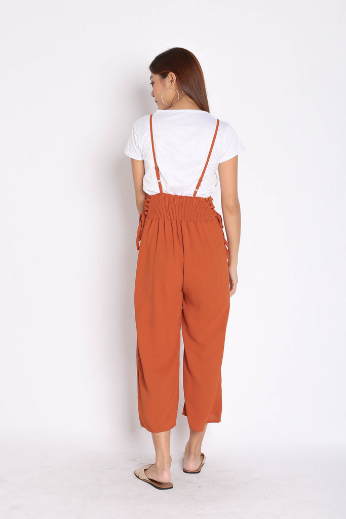 QOUNTY LACED DUNGAREE SET IN TERRACOTTA - TOPAZETTE