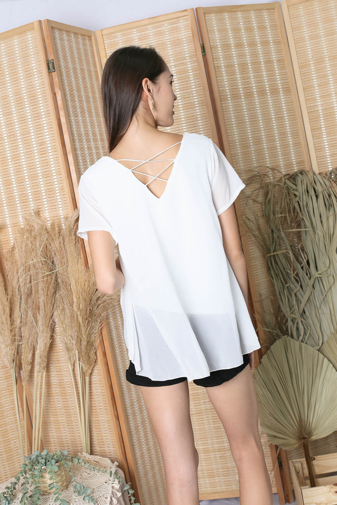 GENESIS CHIFFON TOP IN WHITE
