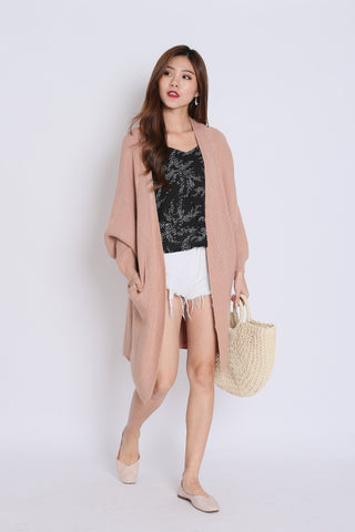 *RESTOCKED* PAVER SOFT KNIT CARDIGAN IN TAUPE