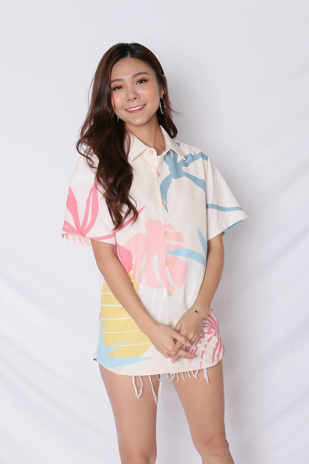 (PREMIUM) ALOHA UNISEX SHIRT IN CREAM