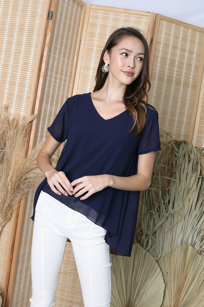 GENESIS CHIFFON TOP IN NAVY