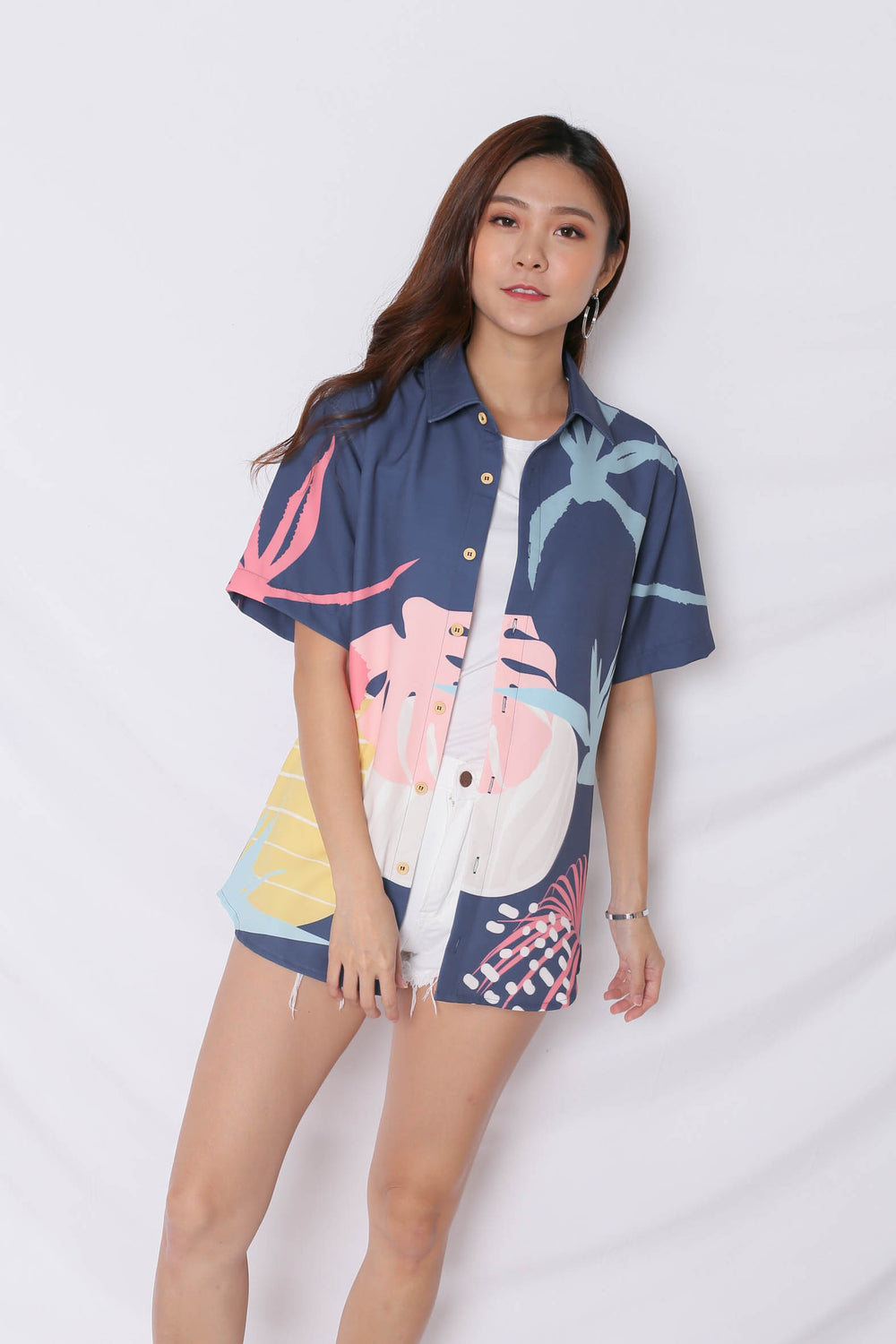 (PREMIUM) ALOHA UNISEX SHIRT IN NAVY