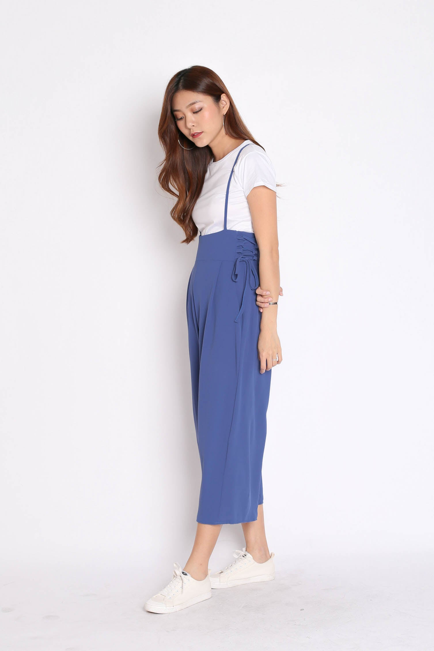 QOUNTY LACED DUNGAREE SET IN AZURE BLUE