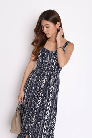JAVEN BUTTONED DOWN DRESS IN AZTEC