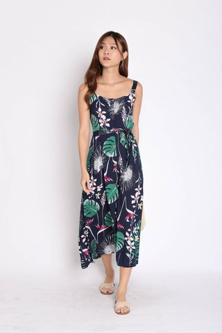 JAVEN BUTTONED DOWN DRESS IN RESORT FLORALS