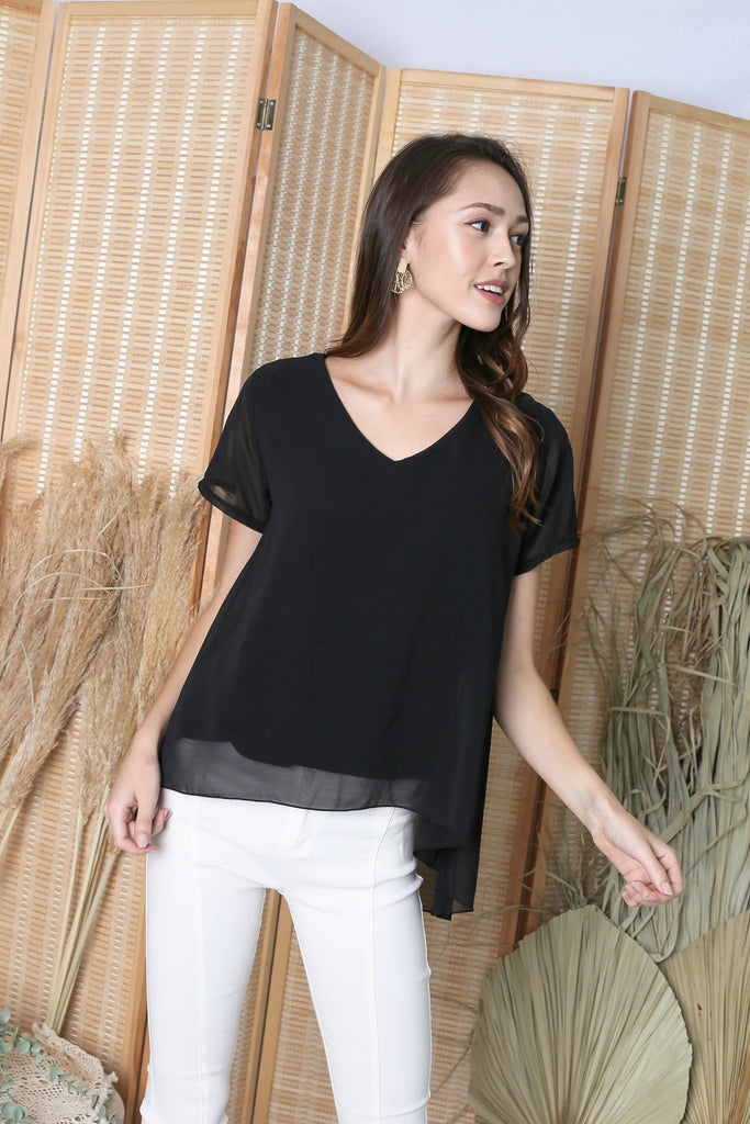 GENESIS CHIFFON TOP IN BLACK