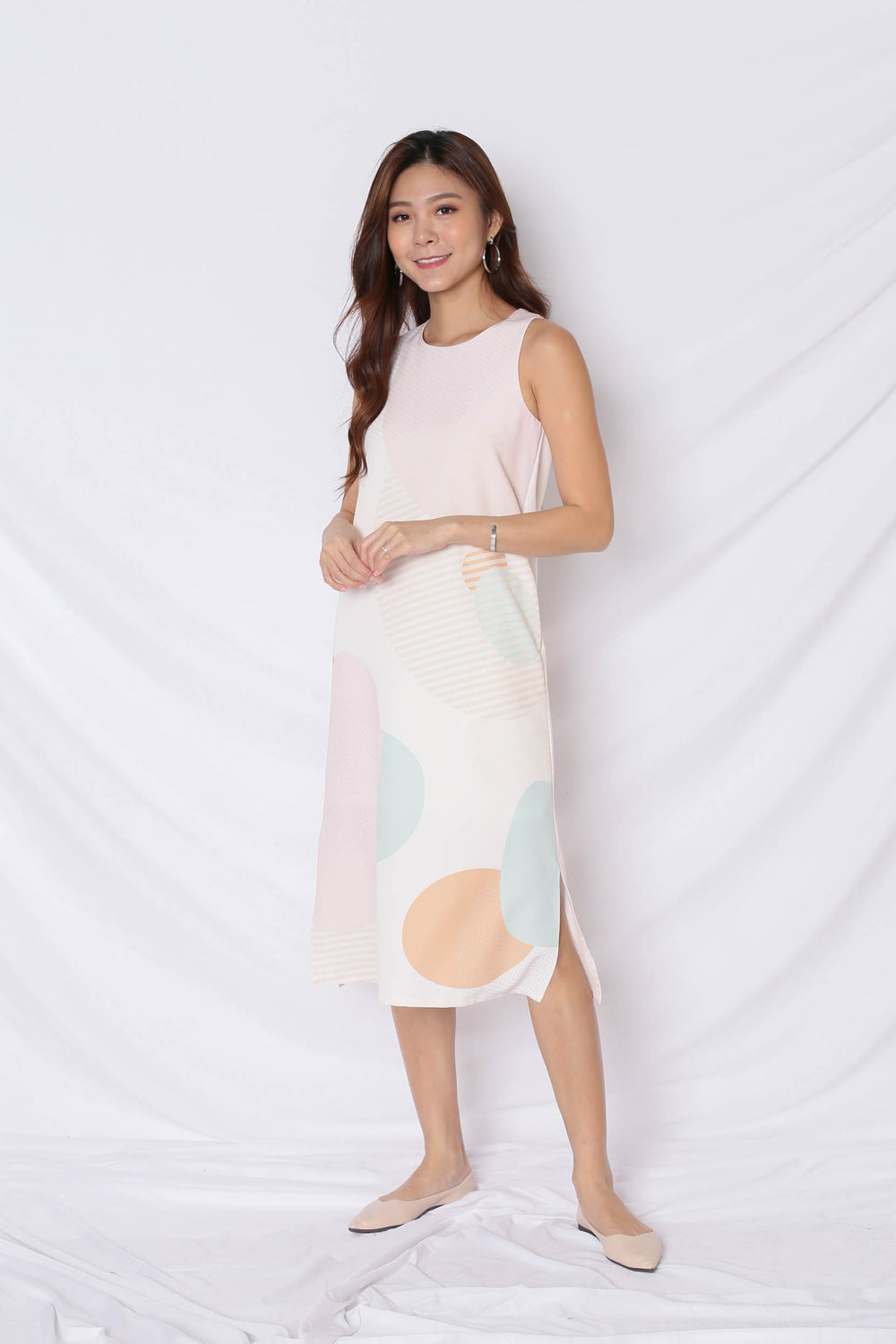 (PREMIUM) THE GEOMETRIC COLLECTION MIDI SHIFT DRESS (VERSION 1) EARTH