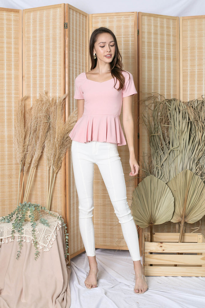 *TPZ* (PREMIUM) XOLA PEPLUM RIBBED TOP IN PINK