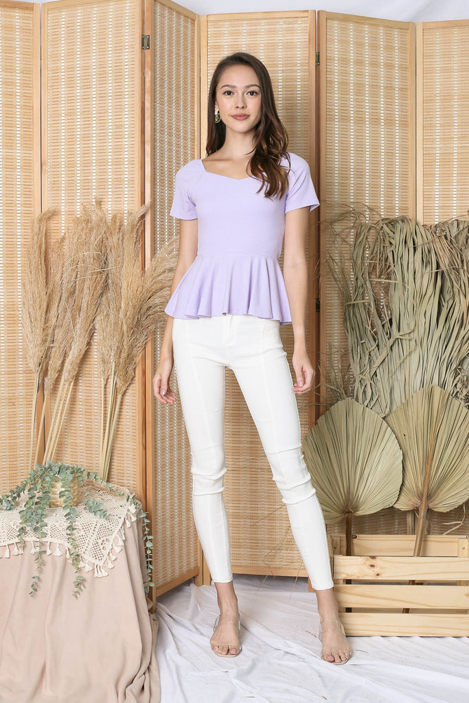 *TPZ* (PREMIUM) XOLA PEPLUM RIBBED TOP IN LILAC