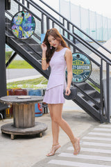 *TPZ* (PREMIUM) YEV PLEATED DRESS ROMPER IN LILAC