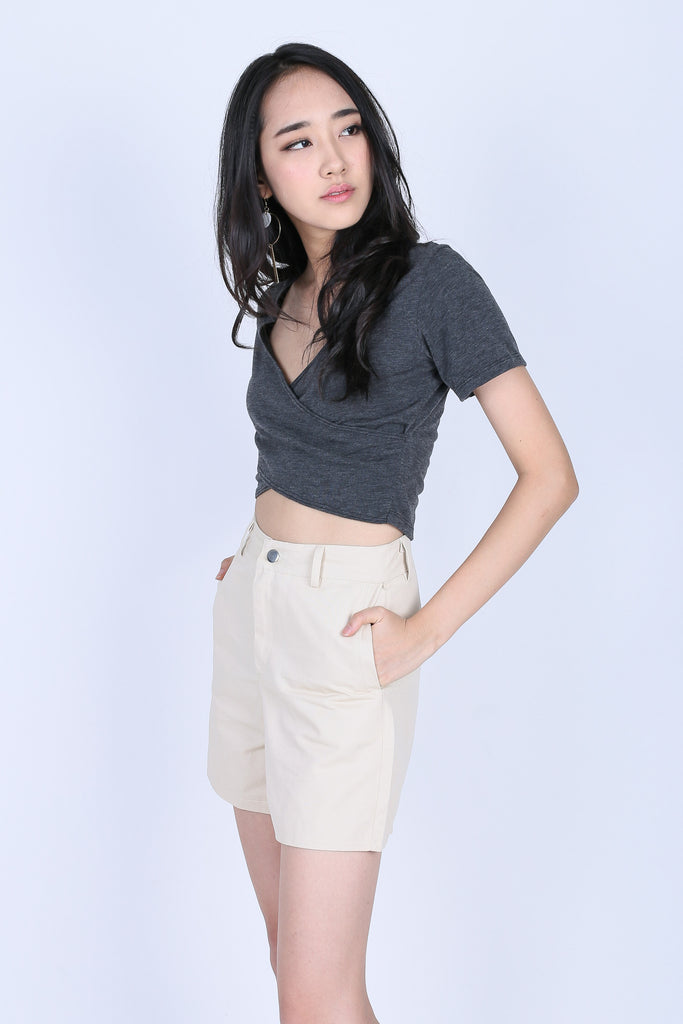 *RESTOCKED* QUINN CROSS WRAP CROP TOP IN DARK GREY - TOPAZETTE
