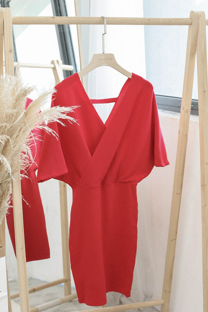 *BACKORDER* OLIS KIMONO DRESS IN RED