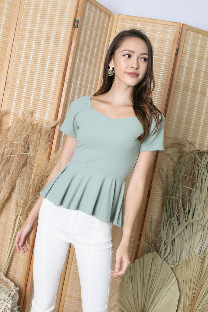 *TPZ* (PREMIUM) XOLA PEPLUM RIBBED TOP IN SAGE GREEN