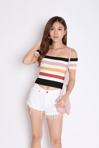 RAINBOW OFF SHOULDER KNIT TOP IN BLACK