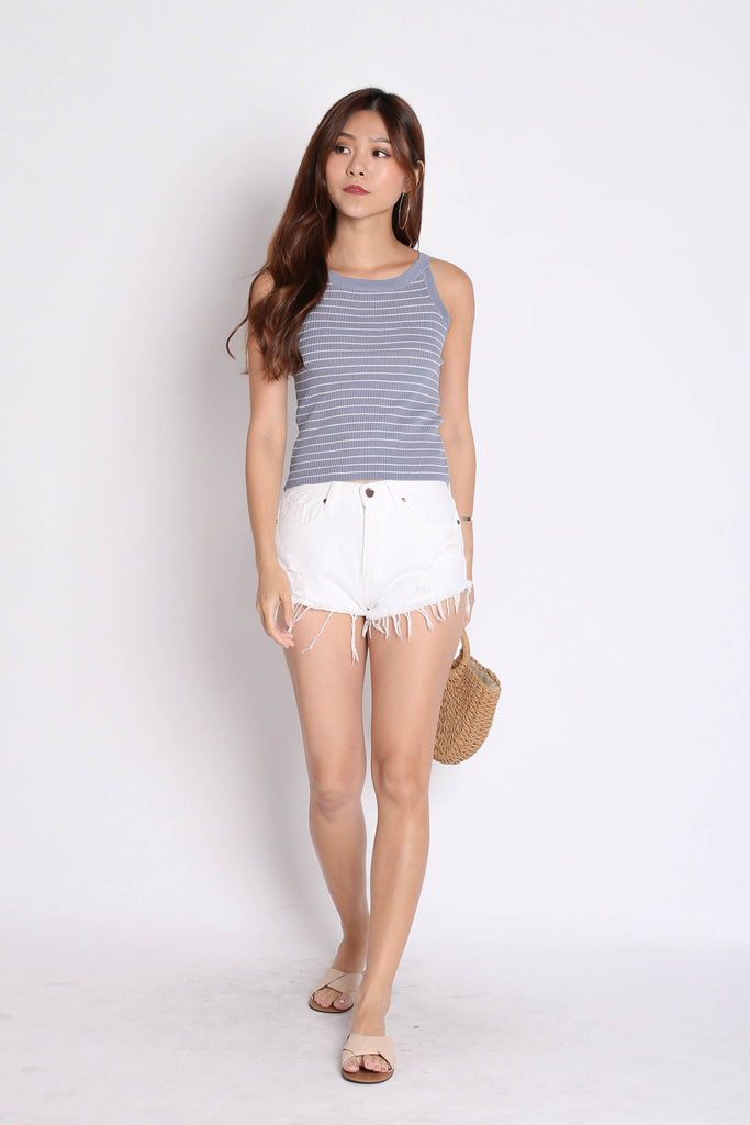 BASIC RIBBED STRIPES KNIT TOP IN DUSTY BLUE