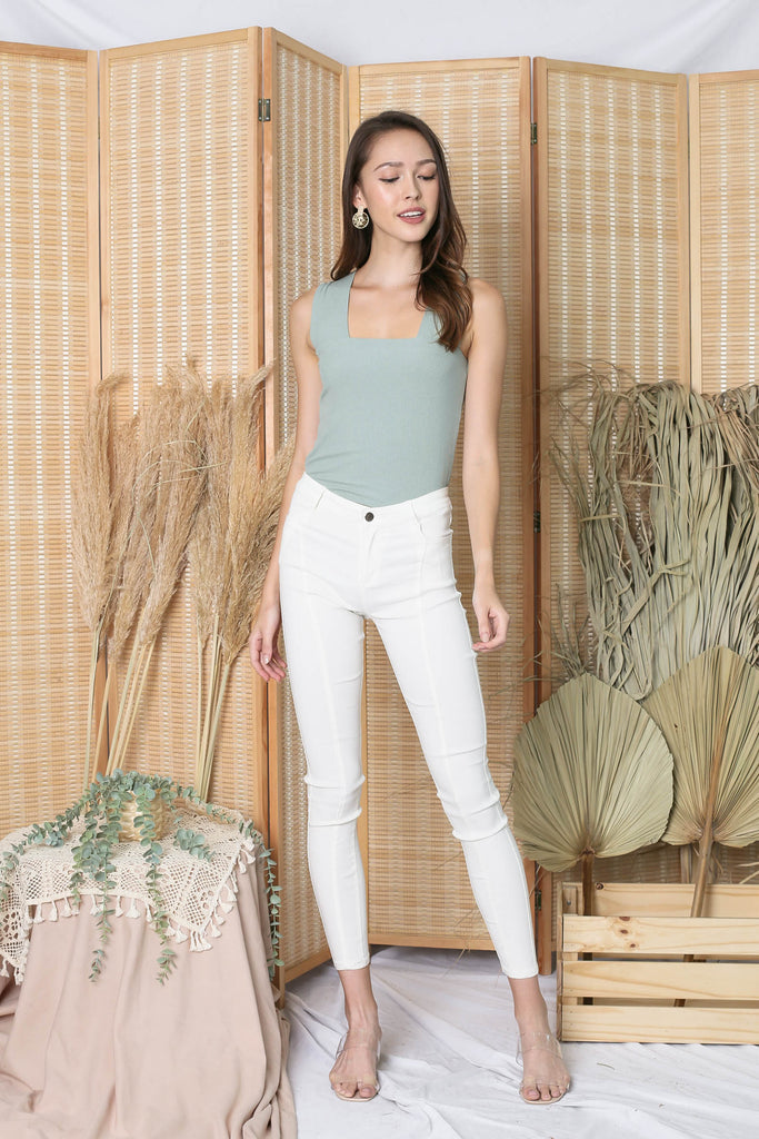 *TPZ* (PREMIUM) ZALIA SQUARE NECK V TOP IN SAGE GREEN
