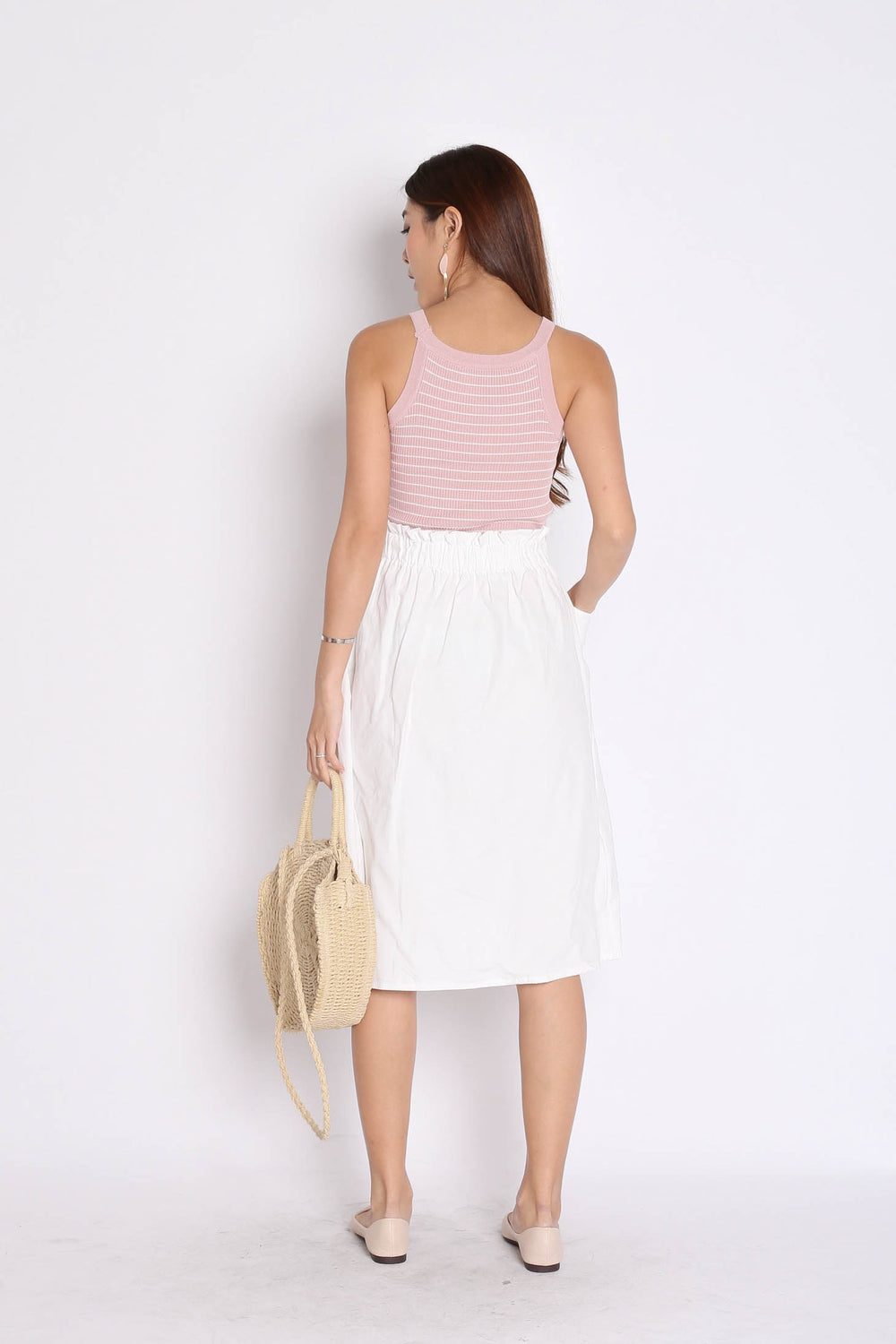 BASIC RIBBED STRIPES KNIT TOP IN DUSTY PINK