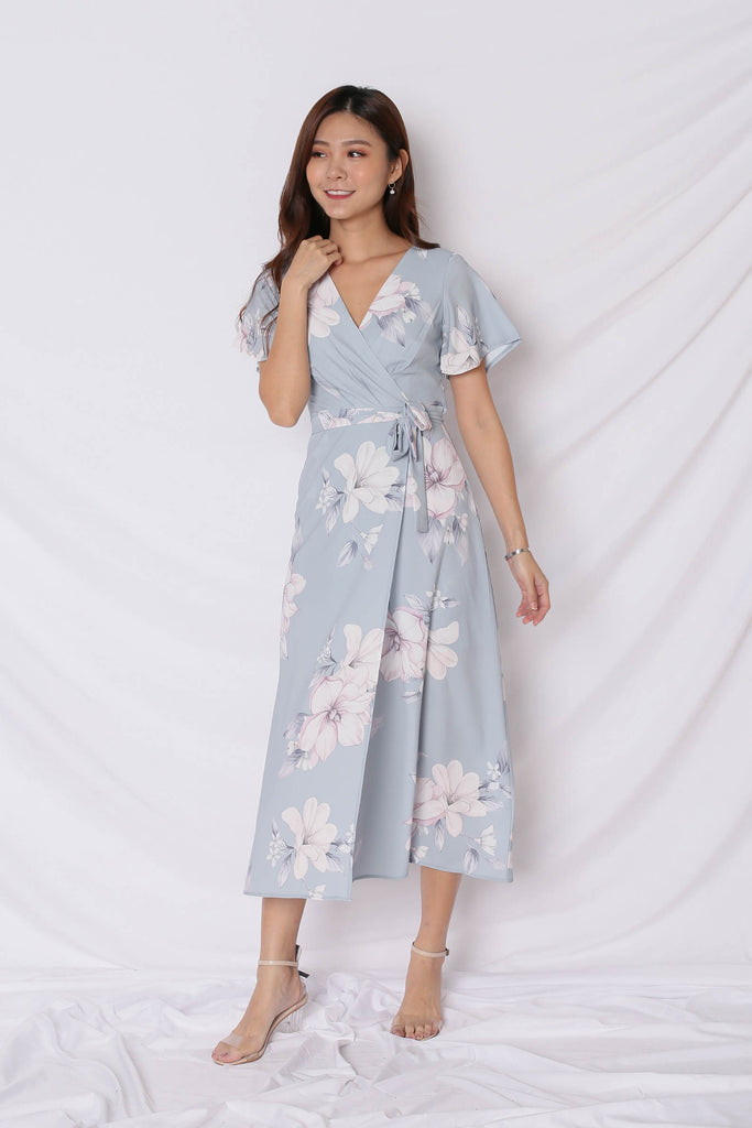 *TPZ* (PREMIUM) ALICIA MAXI IN DUSTY BLUE FLORALS - TOPAZETTE