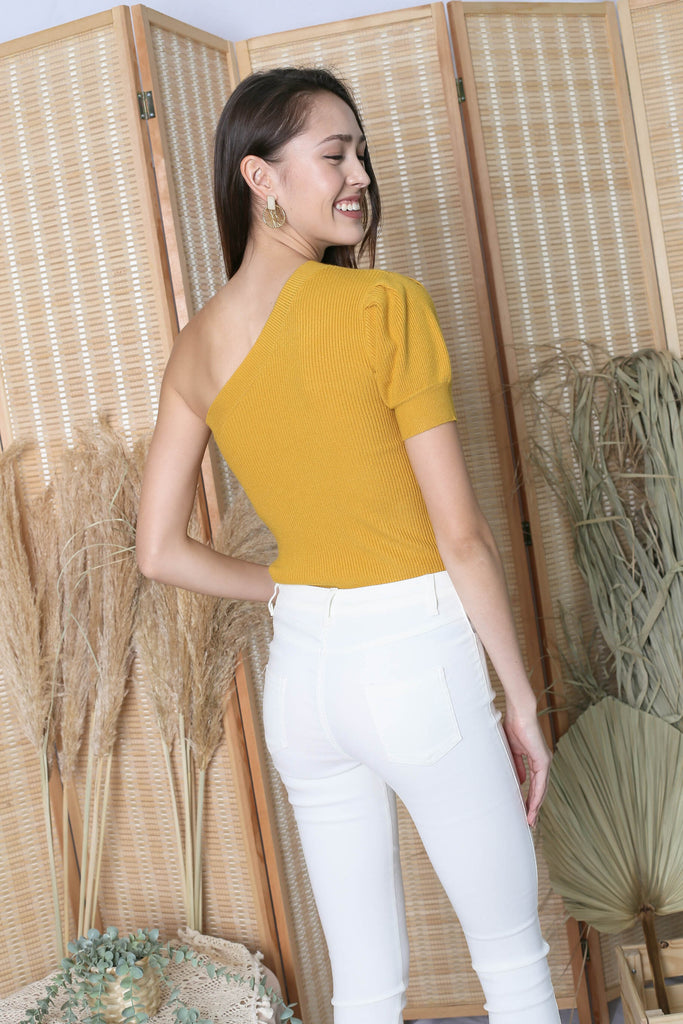 CECILIA TOGA KNIT TOP IN MUSTARD