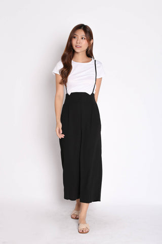 PALLAS BUTTON DOWN DUNGAREE SET IN BLACK
